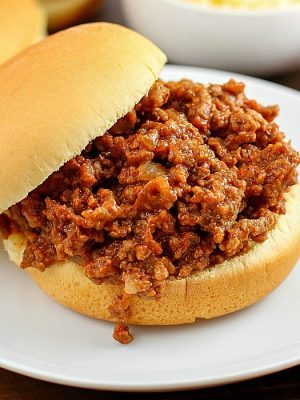 Crock Pot Sloppy Joes! It doesn't get much easier than a little ground beef, (or turkey!) some spices and ketchup, thrown all in a crock pot and then 4 - 6 hours later - dinner is ready! I love serving mine on a whole wheat bun with a slice of cheese and a side of veggies. YUM!