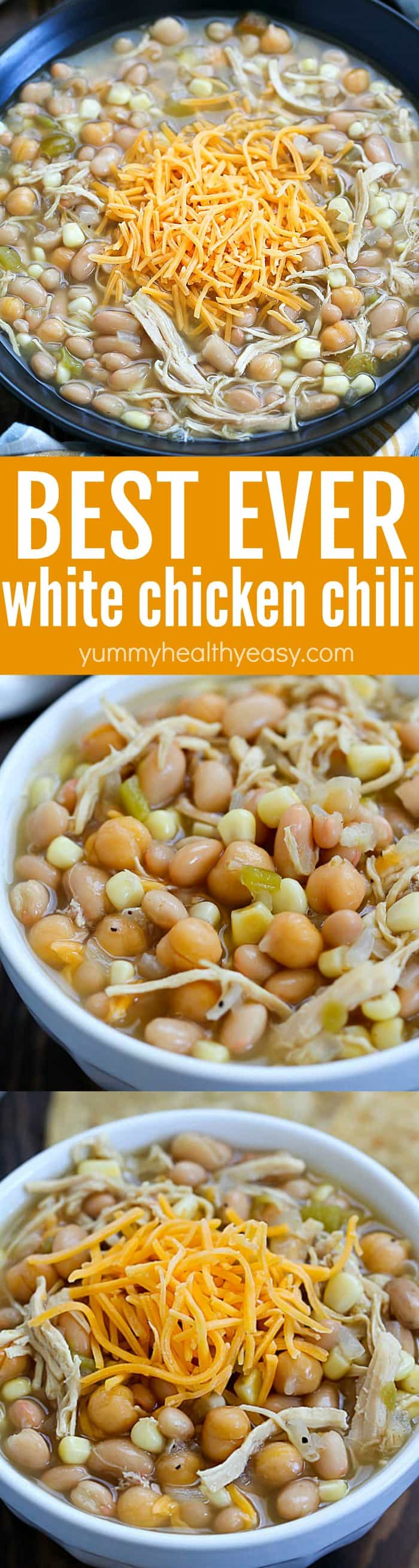 This is the BEST EVER White Chicken Chili recipe!! It's my very favorite white chicken chili recipe. It's super easy and everyone loves it! Simple, easy and delicious! Definitely a family pleasing dinner recipe! via @jennikolaus