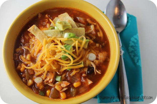 Healthy crock pot chicken tortilla soup yummy healthy easy for Healthy crockpot recipes with chicken