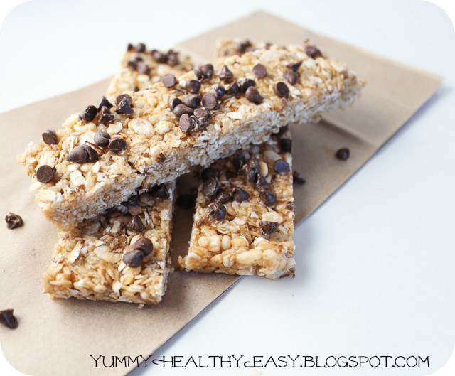 Chewy No-Bake Chocolate Chip Granola Bars