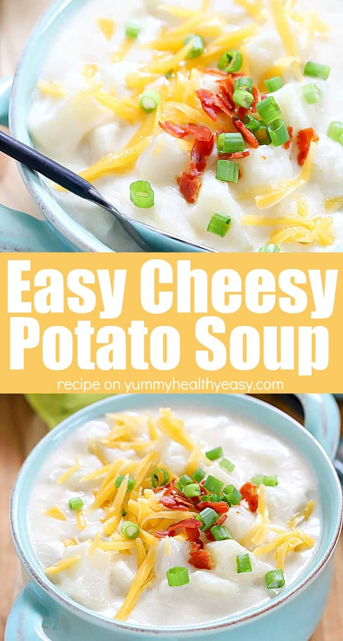 You will love everything about this amazing Cheesy Potato Soup Recipe! What's to love? It's made in one-pot, is SUPER easy to make, has few ingredients, it's creamy & hearty and is the most delicious comfort food meal the whole family will love! #comfortfood #dinner #recipe #soup #soupson #easy #potato #creamy #potatosoup