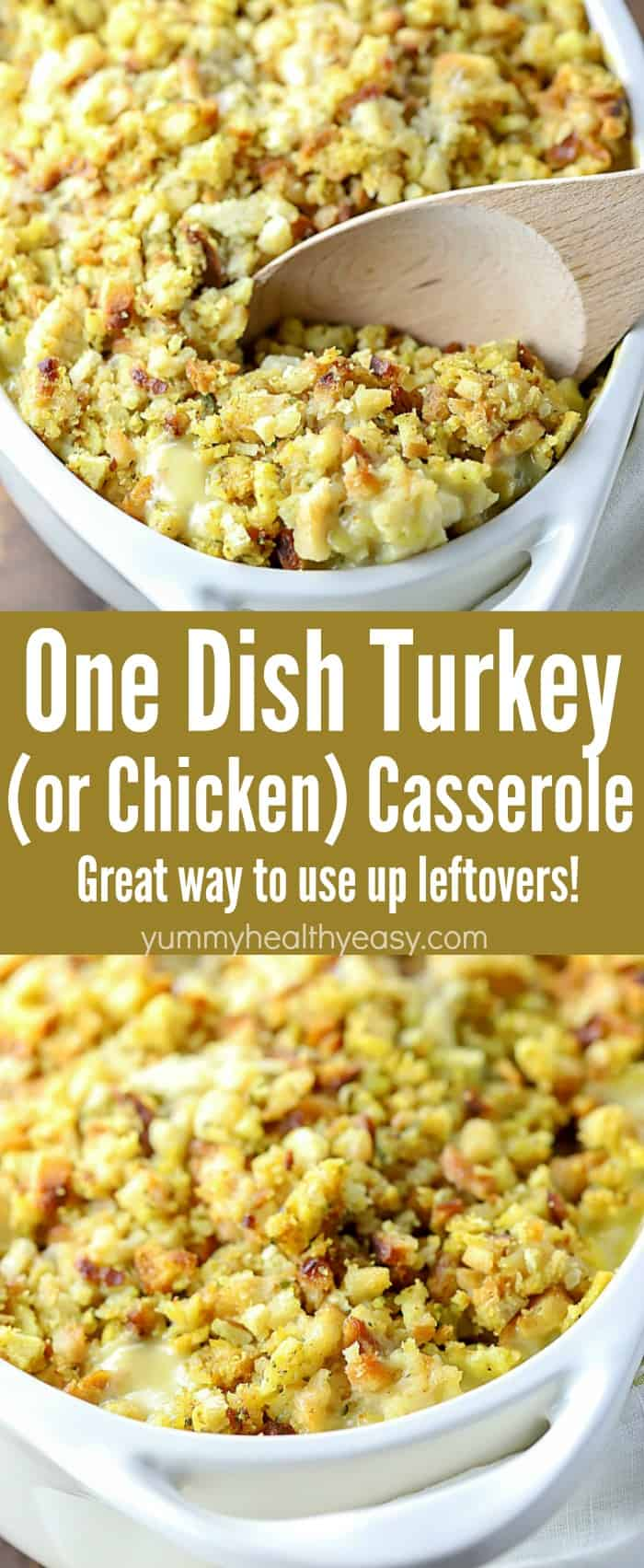 You will LOVE this Easy One Dish Turkey (or Chicken) Casserole Recipe! So super easy to make, only a few ingredients needed and uses all those leftovers you don't know what to do with!