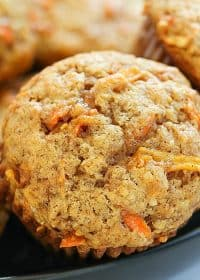 Apple Carrot Muffins (also known as Sunshine Muffins) are soft muffins filled with carrots, apples, coconut, cinnamon & nutmeg. They bake up in no time and will be a crowd pleaser!