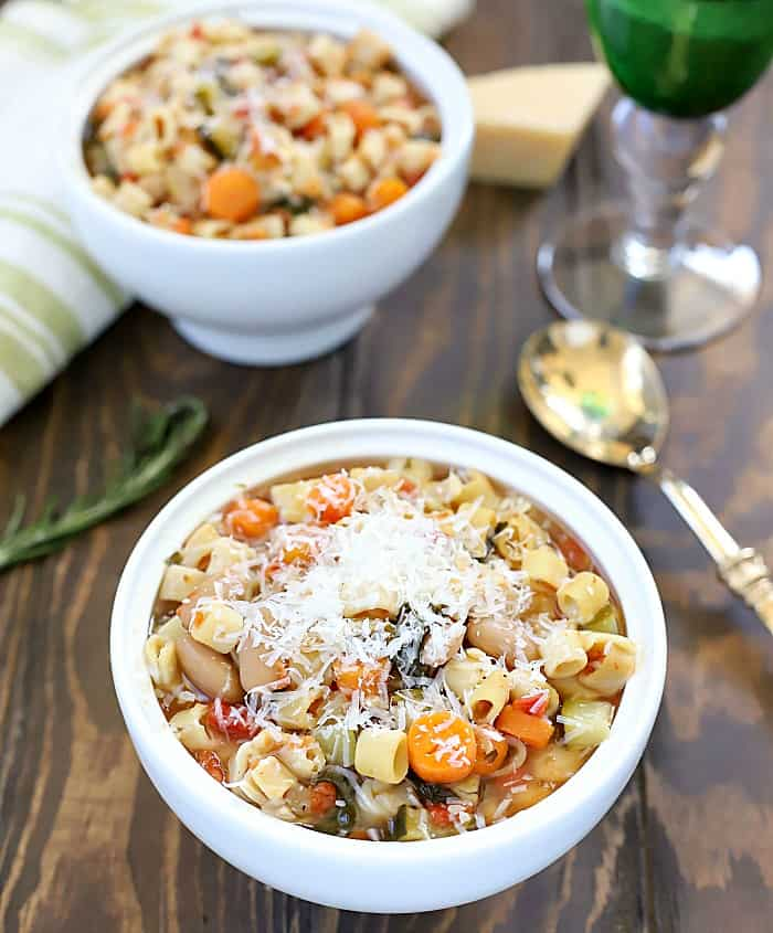 This is seriously the BEST Crock Pot Minestrone Soup. I've ever had! It always comes out incredibly delicious and filling. Plus, it's filled with tons of veggies!