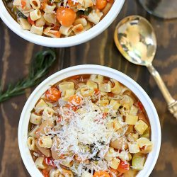 This recipe really is the Best Crock Pot Minestrone Soup recipe ever! It's so healthy and filling plus very versatile. You can switch up the veggies for ones you like and use any pasta you prefer. So easy and yummy!
