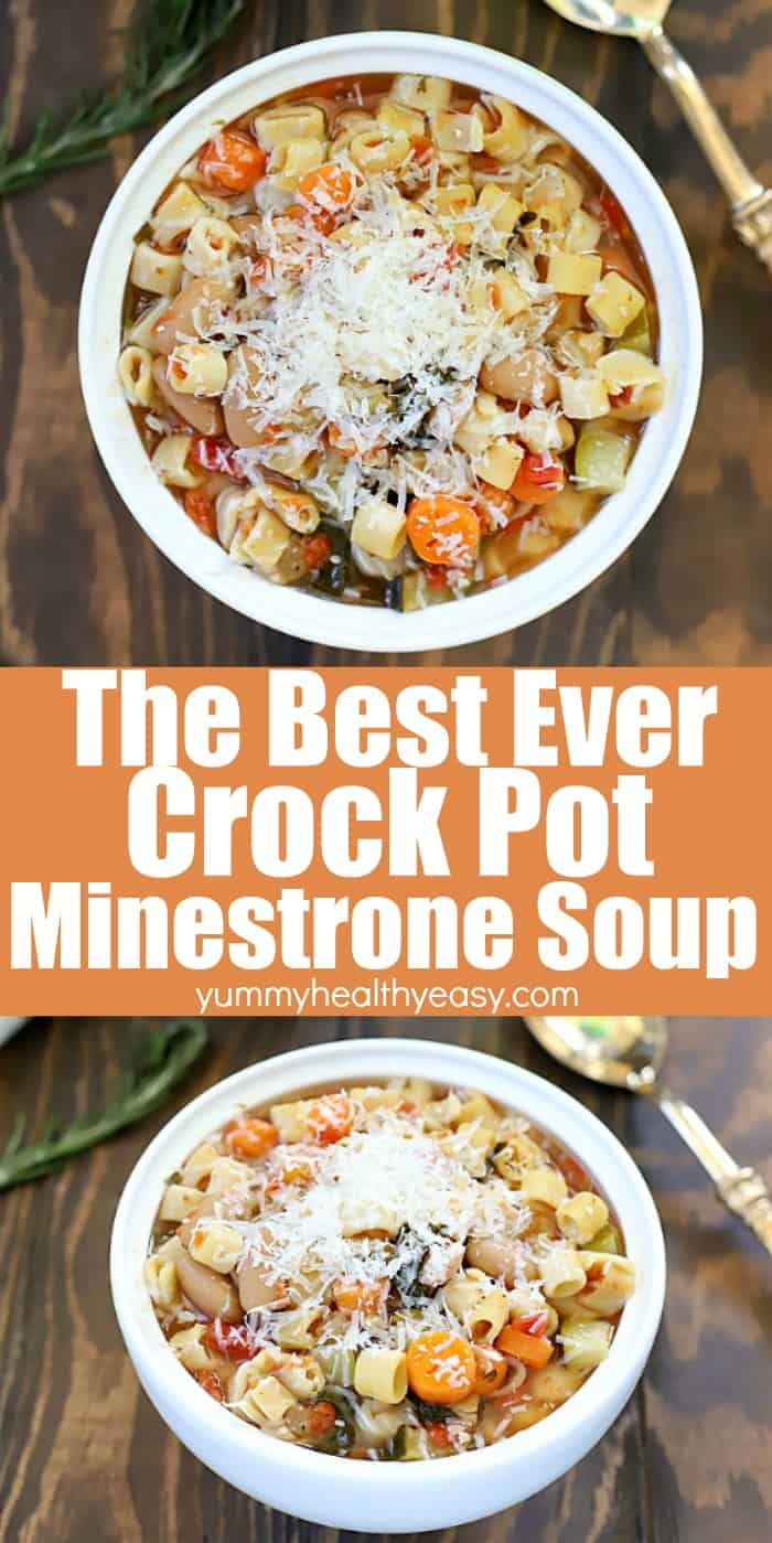 This really is the Best Crock Pot Minestrone Soup! Toss everything into the slow cooker for a delicious, filling meatless dinner the whole family will love! #crockpot #recipe #slowcooker #easy #meatless #vegetarian #soup #souprecipe #comfortfood #healthy #yummy via @jennikolaus