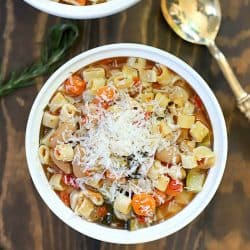 Once you try this recipe for the Best Crock Pot Minestrone Soup, you'll never make another Minestrone Soup recipe again! It's incredibly easy to make and filled with veggies. You can make this vegetarian by using vegetable broth and change up the pasta if desired, too.