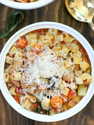 Once you try this recipe for the Best Crock Pot Minestrone Soup, you'll never make anotherMinestrone Soup recipe again! It's incredibly easy to make and filled with veggies. You can make this vegetarian by using vegetable broth and change up the pasta if desired, too.