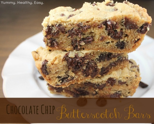 Amazing Chocolate Chip Butterscotch Bars - Yummy Healthy Easy