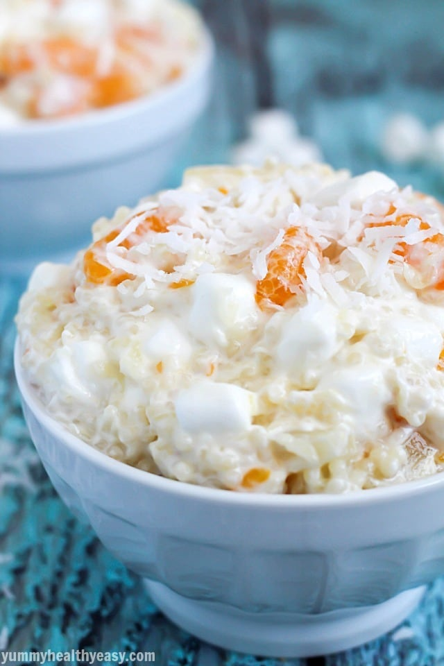Frog Eye Fruit Salad - the best fruit salad EVER using acini de pepe pasta (aka frog eyes) and a yummy sauce mixed with pineapple, mandarin oranges, marshmallows and Cool Whip. A family favorite!