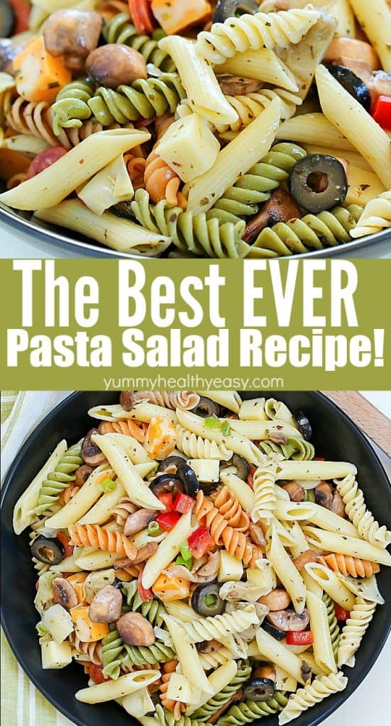 This unbelievable Best Ever Pasta Salad will be the hit of the picnic! Full of pasta, cheeses, pepperoni, olives and veggies and topped with a homemade dressing - this will be an instant potluck favorite!