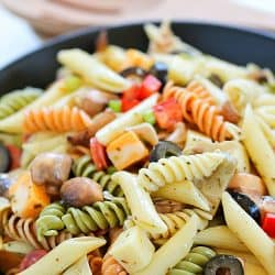 Get ready for the Best Ever Pasta Salad Recipe you'll ever try! It even has a quick, homemade dressing!