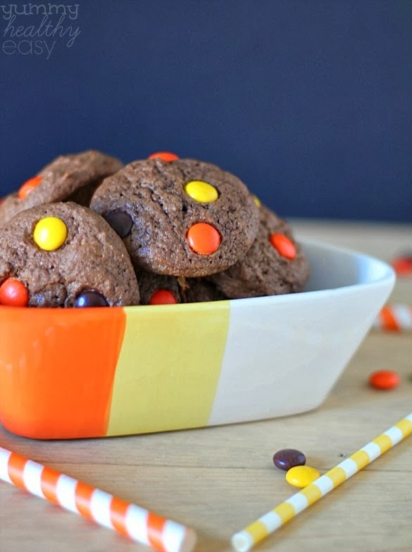 soft & chewy chocolate cookies with Reese's Pieces candies inside!