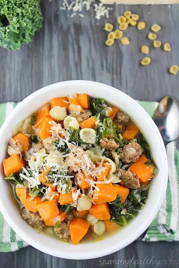 Hearty and delicious soup filled with sweet potatoes, sausage, kale and little pasta shells.
