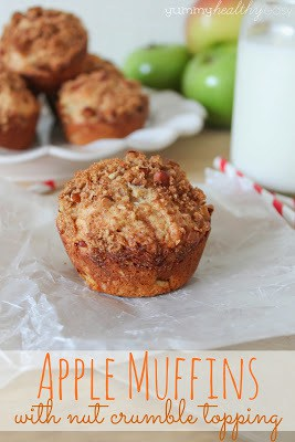 Muffins with bits of apple and a crumble topping