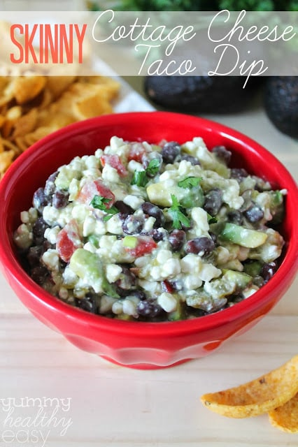 Skinny Cottage Cheese Taco Dip - you can't even taste the cottage cheese!