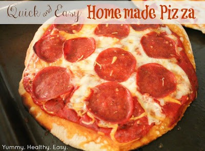 Homemade easy pizza crust and toppings