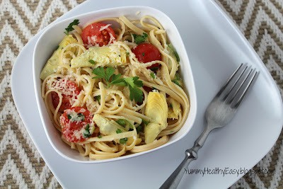 Easy & Fast Linguine with Artichokes, Tomatoes & Parsley