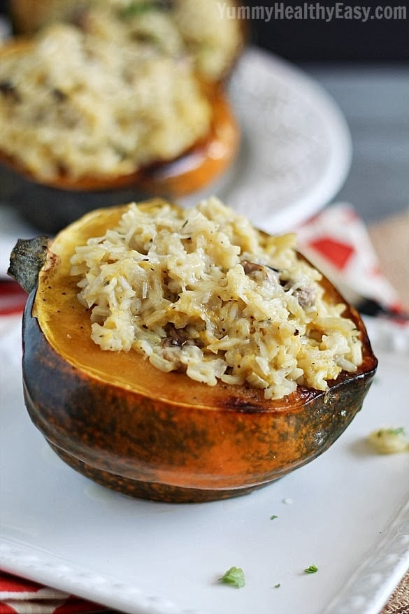 Stuffed Acorn Squash | Baked acorn squash are stuffed with a delicious ...