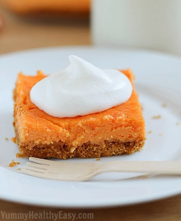 Sweet Potato Cheesecake Bars - Yummy Healthy Easy