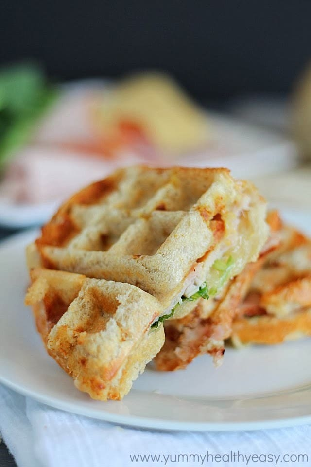 Turkey & Swiss Waffle Panini (use a waffle iron instead of a panini press- genius!)