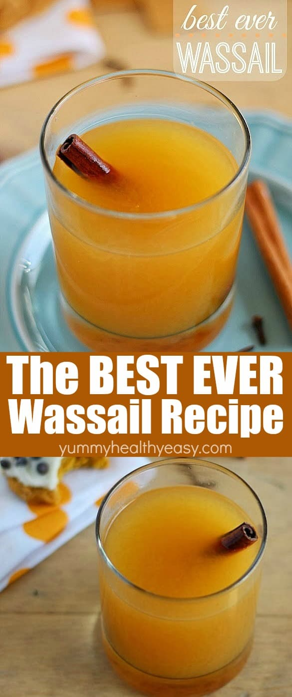 This is seriously the Best EVER Easy Wassail Drink (aka Hot Cider)! Throw some simple ingredients into a pot and heat them up to make the best, most flavorful drink ever! Perfect for a cold night! #wassail #drink #easyrecipe #recipe #holidays  via @jennikolaus