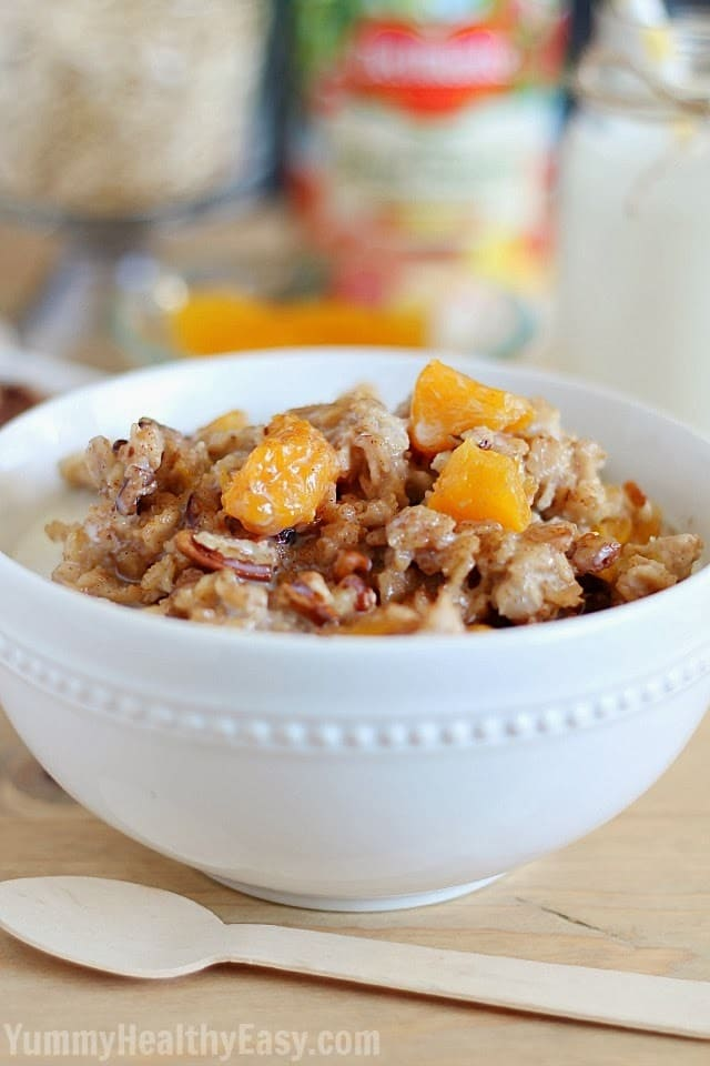 Slow Cooker Peach Oatmeal Yummy Healthy Easy