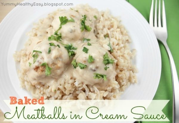 These Baked Turkey Meatballs in Cream Sauce are the most rich and flavorful meatballs I've ever had. Even when made with lean ground turkey, they are crazy moist!
