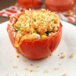 stuffed full of corn, black beans, breadcrumbs, jalapeño, cheese and plain deliciousness. You will love serving these Baked Stuffed Tomatoes with your next meal.