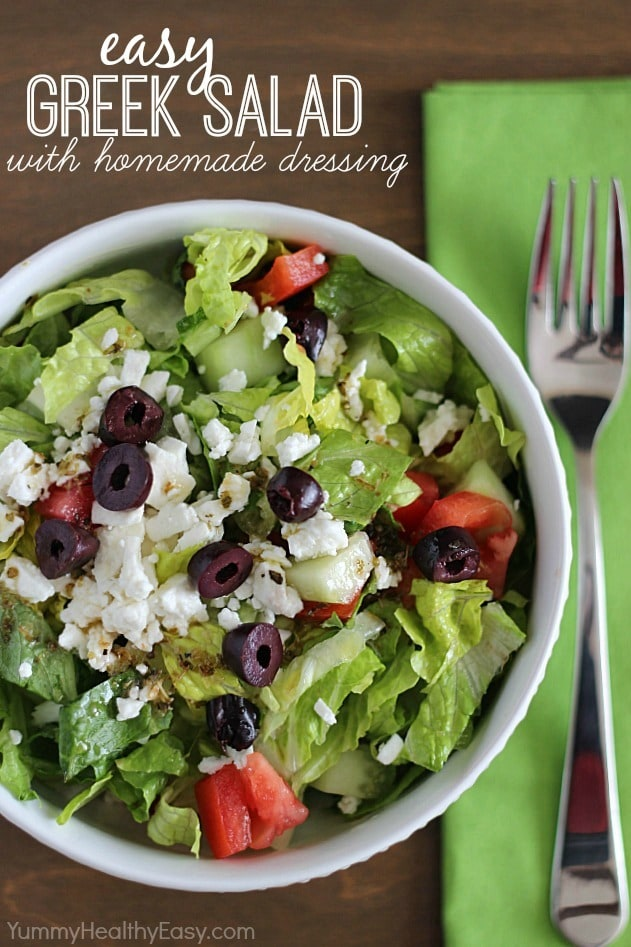 SO Yummy & Easy Greek Salad with Homemade Dressing Recipe
