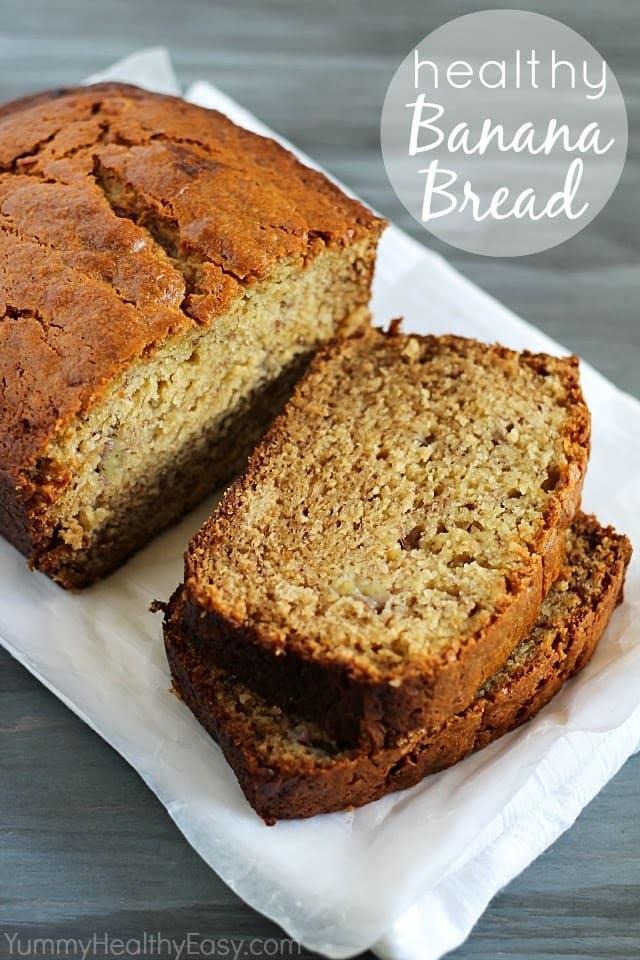 Healthier Banana Bread (white whole wheat flour and Greek yogurt)