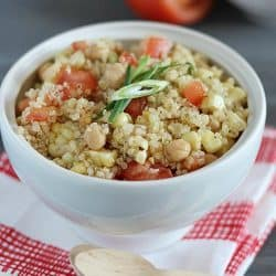 Healthy Quinoa Salad with amazing homemade dressing. Perfect side dish to any meal!