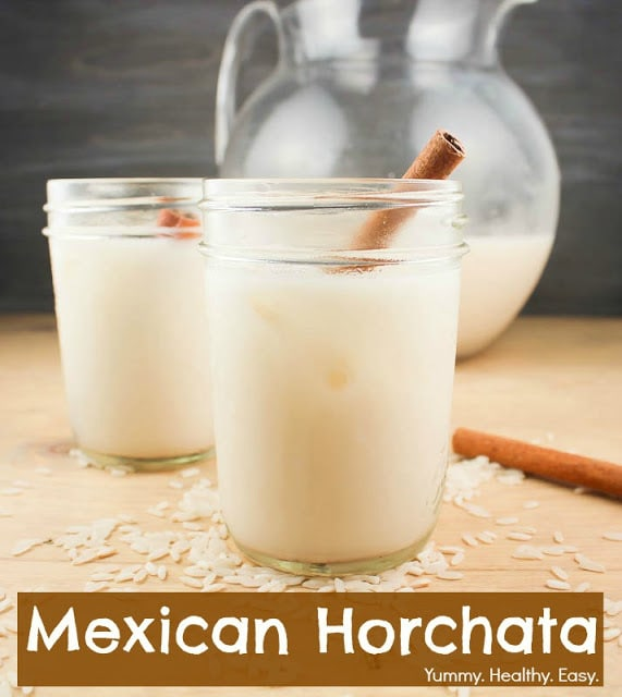 A delicious and easy recipe to make horchata at home! It's a rice and cinnamon drink that's just about the best-tasting creamy drink ever!