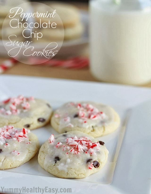 Peppermint Chocolate Chip Sugar Cookies with Mint Glaze - the perfect cookie for the holidays