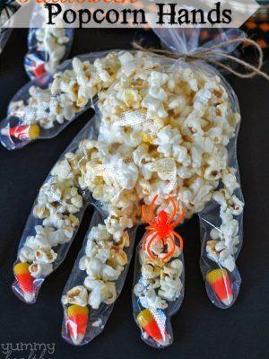 Halloween Candy Corn Popcorn Hands
