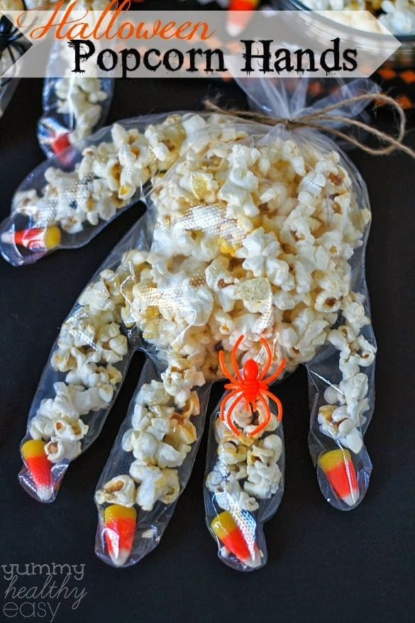 Halloween candy corn popcorn hands yummy healthy easy for Halloween decorations to make at home for kids