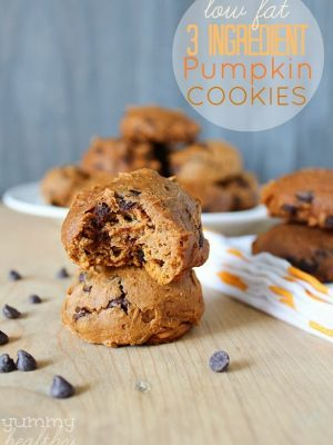 Low-Fat 3 Ingredient Pumpkin Chocolate Chip Cookies