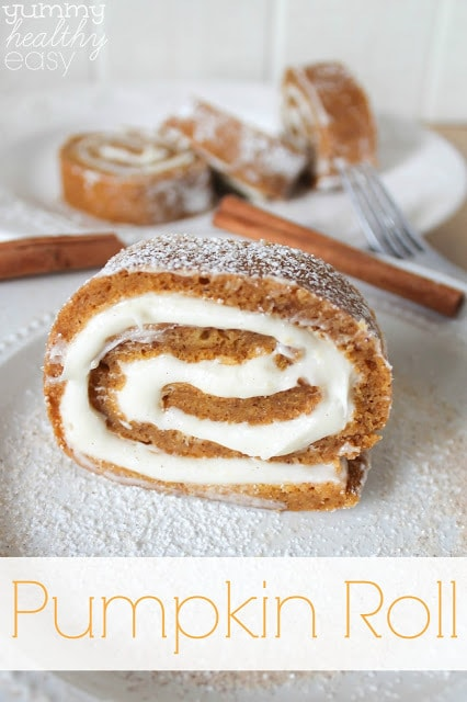 Pumpkin Roll - an easy cake roll made with a light layer of cake and a creamy layer of filling, rolled together. SO yummy!