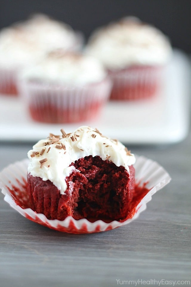 Red Velvet Beet Cupcakes that are fluffy, decadent and a bit healthier, too! There's much less red food coloring in this version of red velvet cupcakes!