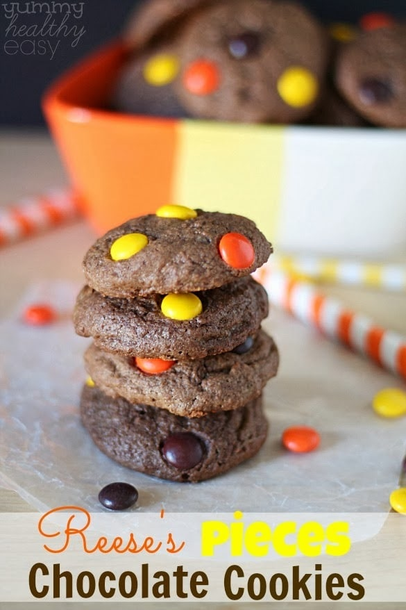 Soft & chewy chocolate cookies with Reese's Pieces candies inside