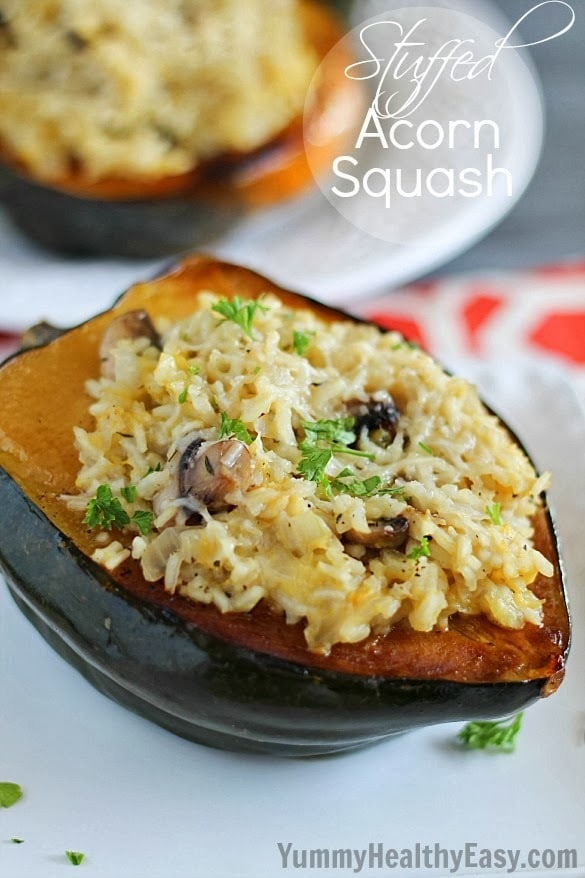 Stuffed Acorn Squash that's incredible and perfect for a holiday side dish - or just a regular side dish!