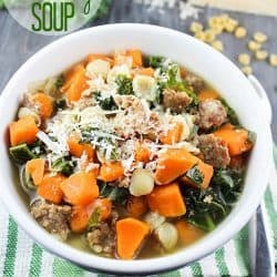 Comforting and delicious soup filled with sweet potatoes, sausage, kale and small pasta shells. Perfect dinner on a cold fall or winter evening!