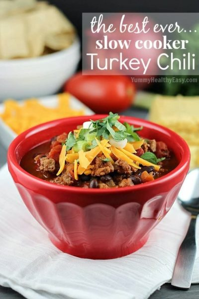 The BEST EVER Turkey Chili cooked right in the crock pot! This is seriously amazing!