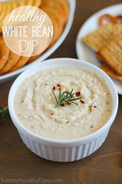 Crackers and Healthy White Bean Dip + 43 Healthy Snack Ideas