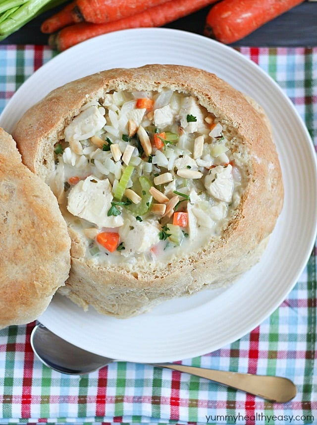 Chicken & Wild Rice Soup in Homemade Bread Bowls