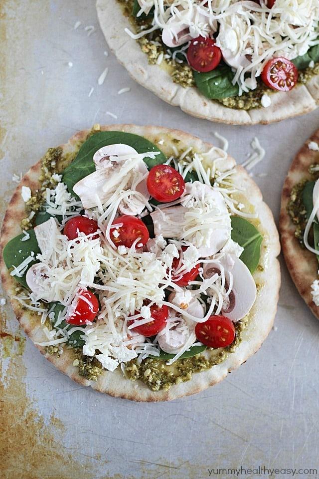 Easy Pita Pesto Pizza