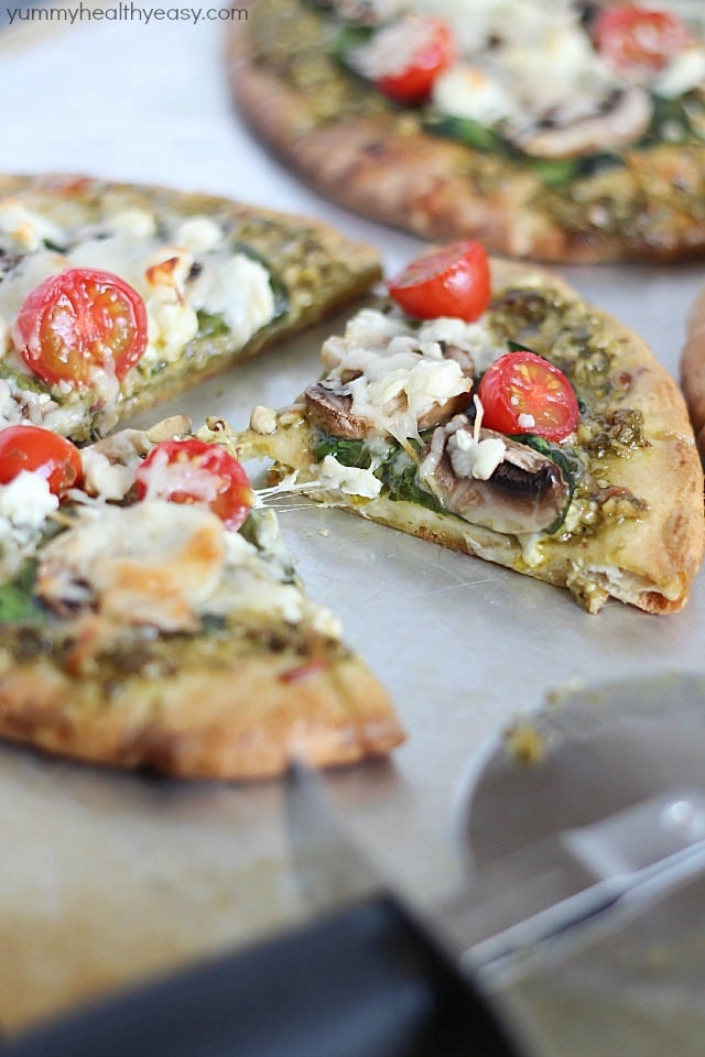 Easy Pita Pesto Pizza 4
