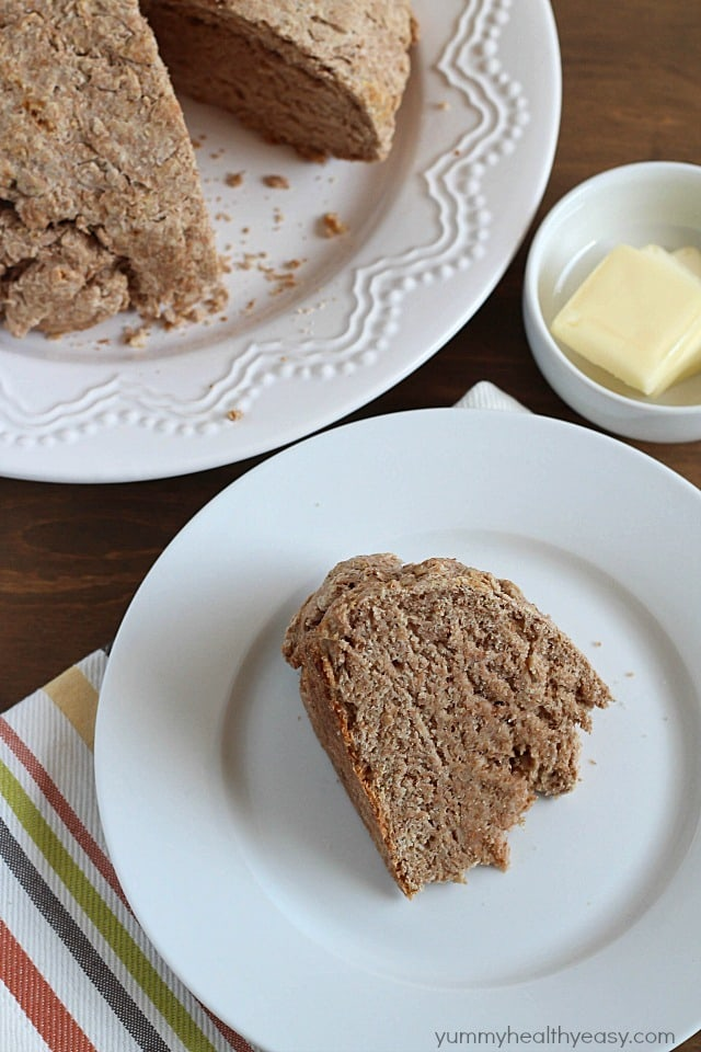 Irish Buttermilk Brown Bread - hearty whole wheat Irish soda bread. Delicious by itself or as a filling side dish. #easy #bread #wholewheat