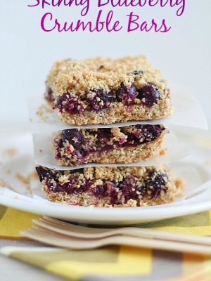 These Skinny Blueberry Crumble Bars have everything you want in a breakfast treat…a delicious crust, a layer of blueberries and a crumbled oat topping. So delicious!