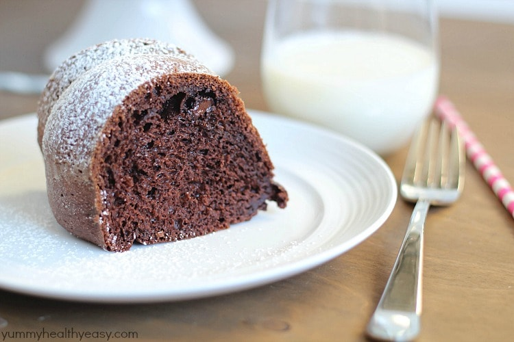 Skinny Chocolate Bundt Cake - delicious lower-fat bundt cake that's made with a cake mix, sugar-free pudding, applesauce and greek yogurt. Super moist and deceivingly decadent!